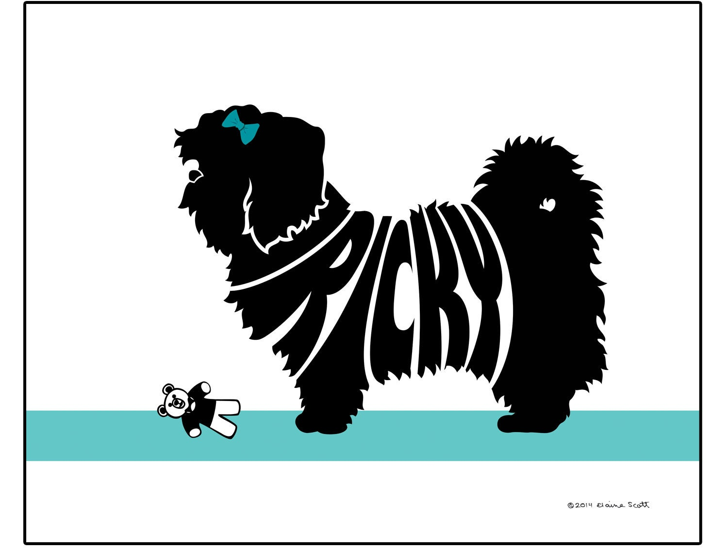 Personalized Shih Tzu Silhouette Print Dog Name Art Wall Etsy