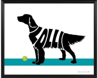 Personalized English Setter or Irish Setter Print, Framed 8x10 Dog Name Art, Setter Silhouette Wall Art