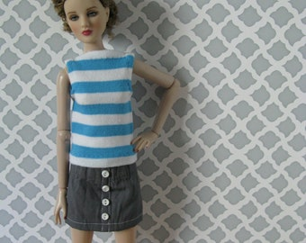 Striped top and skirt for 16 inch fashion dolls