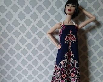 "OOAK bohemian dress for 12"" fashion dolls"