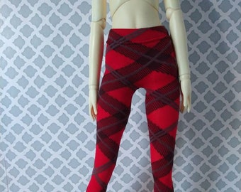 Red plaid and solid tights for SD 13 ball-jointed dolls