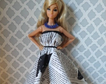 """OOAK 3-piece """"newsprint"""" outfit for 12"""" fashion dolls"""