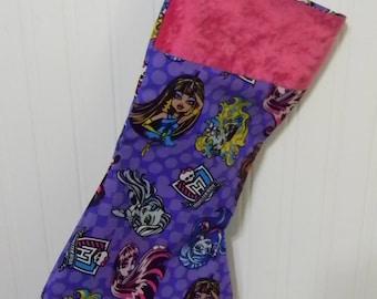 monster high fabulous poses monster in purple christmas stocking - Purple Christmas Stocking