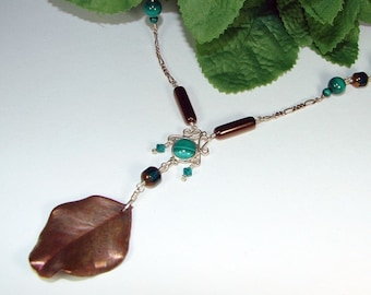 Natural Copper Leaf Necklace Sterling Silver Chain with Green Malachite Gemstones Y Necklace