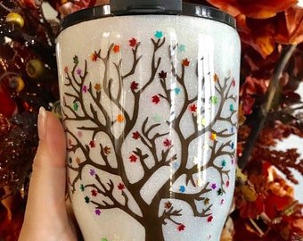 Custom Fall Tree Tumbler Personalized Autumn Leaf Stainless Steel Travel Cup