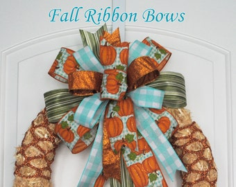 Made Ribbon Bow, Spring Wreath Bow, Fall Lantern Decoration, Front Porch Bow, Summer Decor