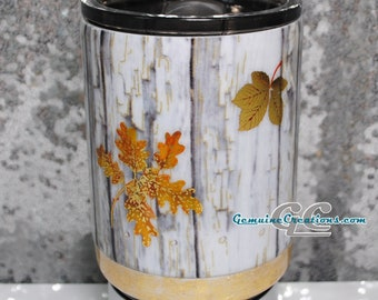 Custom Faux Wood Tumbler Personalized Rustic Stainless Steel Travel Cup Weathered Grey Wood Water Bottle