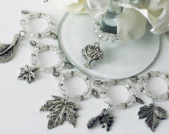 Fall Leaves Wine Glass Charms - Fall Stemmed Glassware Charms - Autumn Table Decor - Pewter Leaf Charms - Thanksgiving Gift