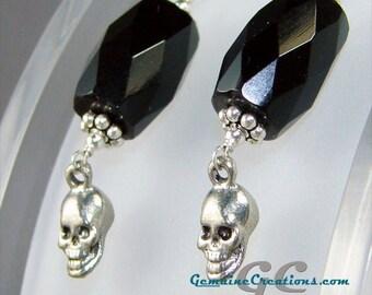 Black Skull Earrings, Halloween Jewelry, Gemstone Skull Dangle Earrings, Silver Pewter Skull Earrings, Black Stone Earrings