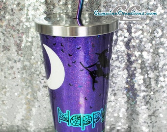 Halloween Tumbler Witch Stainless Steel Straw Cup Spooky Tree Glitter Tumbler Pumpkin Travel Cup