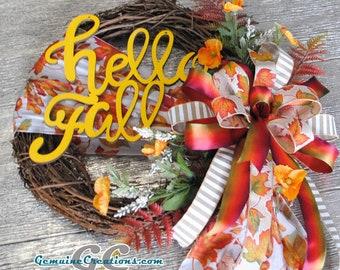 Fall Front Door Wreath, Leaf Door Wreath, Red Orange Yellow Wreath, Autumn Decoration, Fall Wall Decor, Fall Wall Hanging