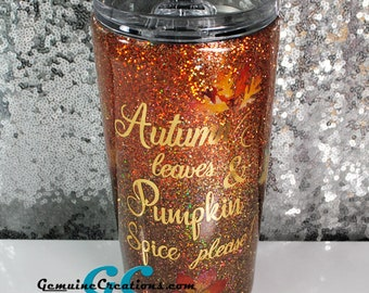 Autumn Glitter Stainless Steel Tumbler in Gold Brown Copper Fall Travel Cup Pumpkin Spice Coffee
