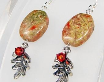 Leaf Earrings, Fall Dangle Earrings, Silver Oak Leaf Earrings, Autumn Gemstone Drop Earrings, Green Orange Jewelry