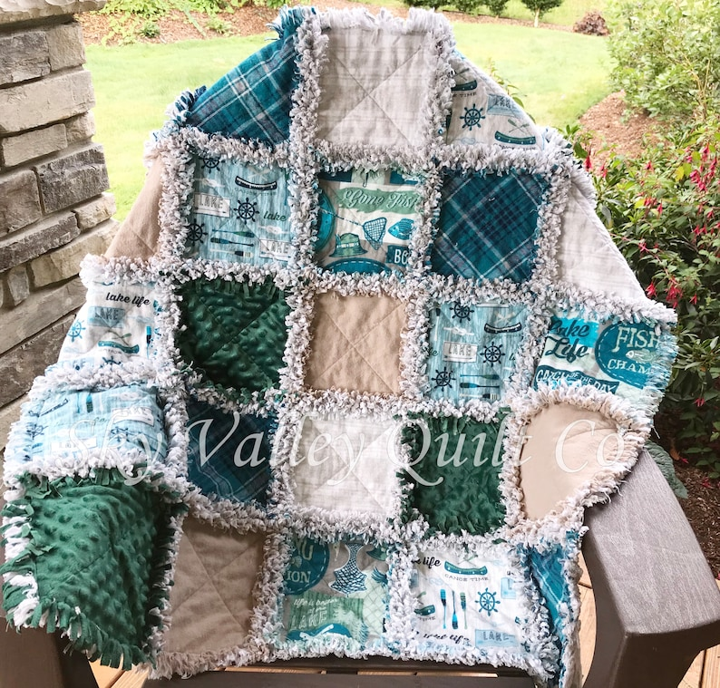 gray and green Finished rag quilt Lake Fishing in Teal