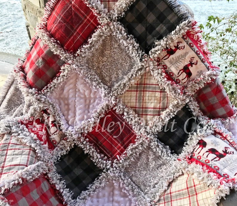 Nordic grey and black stag red white Pre cut  Rag Quilt KIT ~ deer checks and plaid