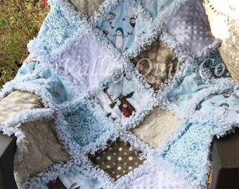 Finished rag quilt ~  Holiday Christmas snowflakes snowmen, blue beige and white