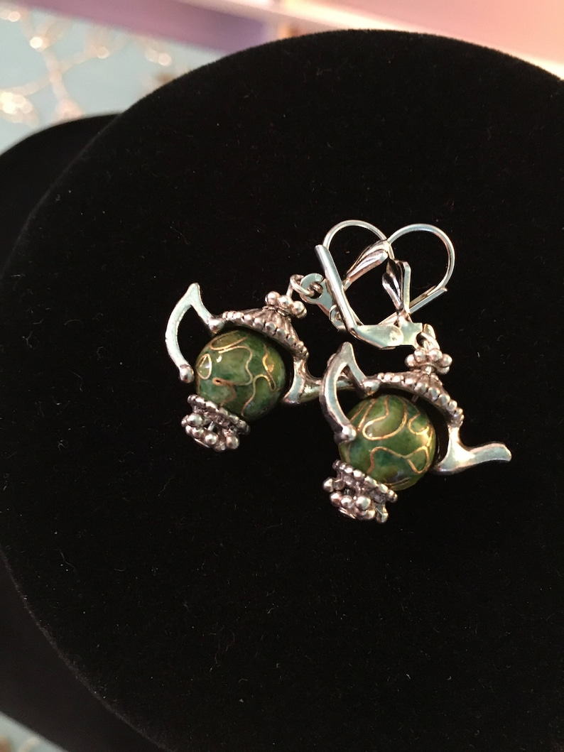 Tea Pot earrings pair Green design beads with and silver image 0