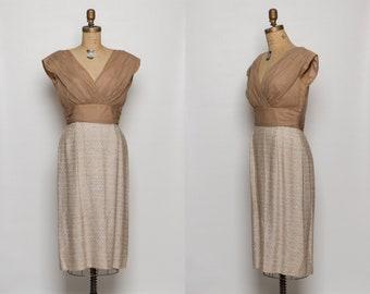 vintage 1950s dress | chiffon top | textured woven skirt