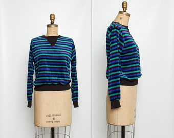 vintage 80s striped velour top