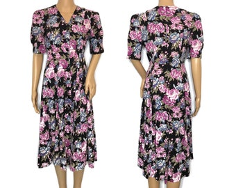 vintage 80s 90s floral midi dress Brandywine Creek button front button down short sleeve