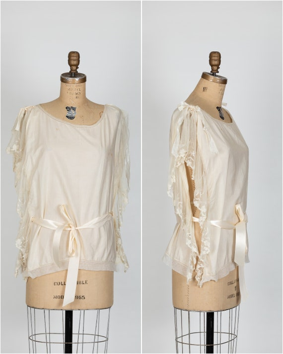 vintage 1920s ivory antique blouse