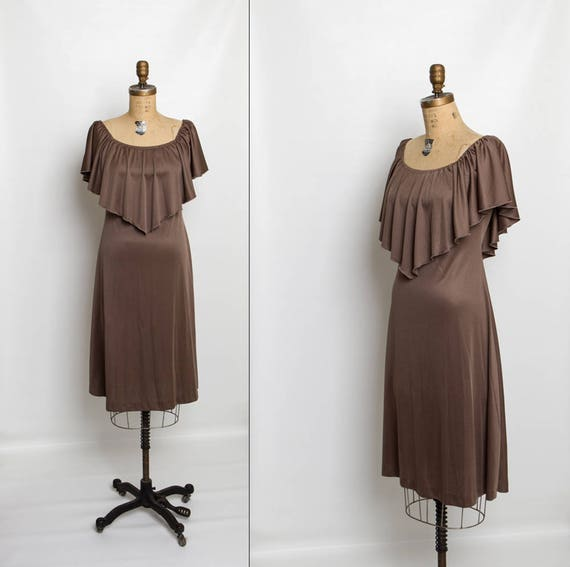 vintage 1970s dress with capelet | draped dress