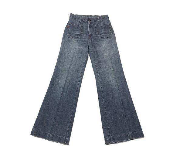 vintage 1970s Levi's bell bottoms jeans orange tab