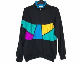 vintage 80s pullover sweatshirt colorblock 1980s Lavon half zip top