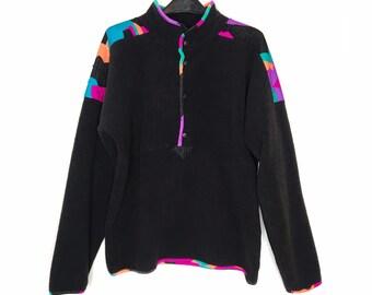 vintage 90s fleece pullover half button Sunbuster Performance Sportswear colorblock 1990s