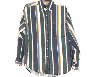 vintage 90s American Eagle button up shirt striped oxford 1990s cotton