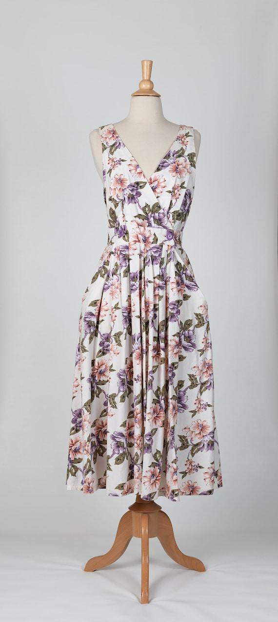 floral midi dress | 80s floral dress - image 2