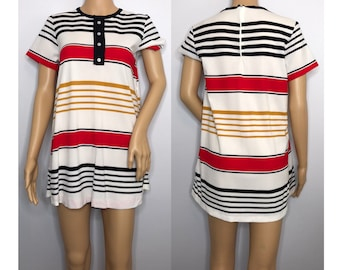 vintage 1960s striped tunic mini shirt dress Tiger 60s nylon short sleeve