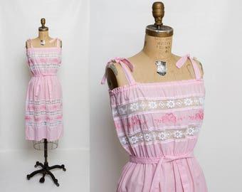vintage 70s embroidered lace sundress | 1970s pink dress