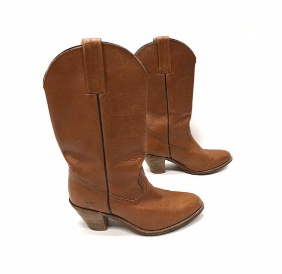 vintage Frye cowboy boots leather