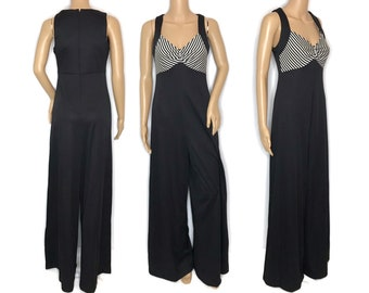 vintage 70s jumpsuit 1970s wide leg bell bottoms pantsuit romper one piece black and white striped