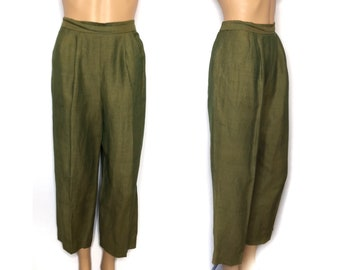vintage 80s 90s pants cropped trousers ankle length Positive Attitude green pleated high rise