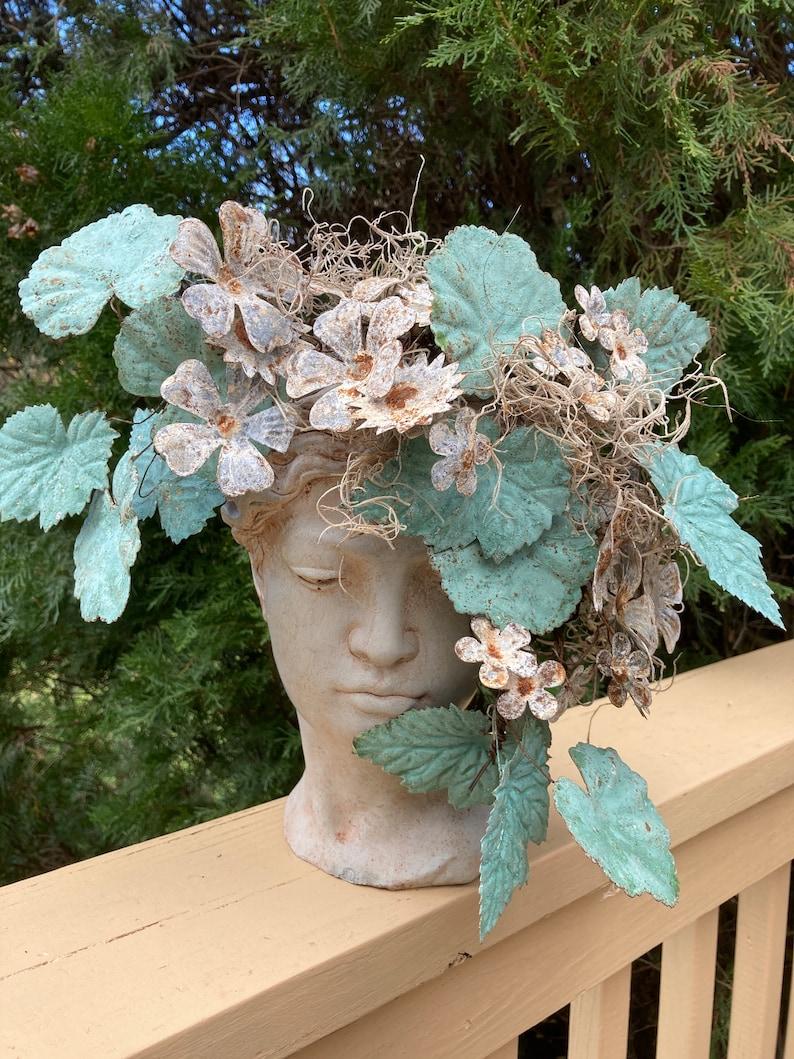Concrete Woman's Head Face Planter Pot Metal Rustic image 0