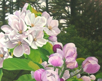 """Apple Blossom Special, 36"""" x 24"""" Original Oil Painting on Canvas, Flower Artwork Home, Vertical Wall Art, Orchard View , Living room Decor"""