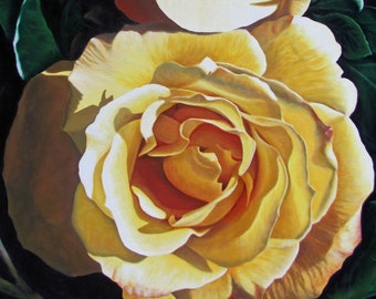 """Yellow Rose #8, 40"""" x30"""" Original Acrylic Painting on Canvas, Flower Artwork, Vertical Wall Art, Close up Flower Painting, Living room Decor"""