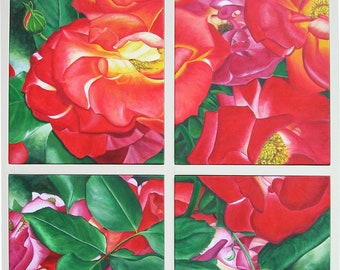 """Quatrose, 40"""" x 31"""" Original Acrylic Painting on Canvas, Red Roses Artwork, Vertical Wall Art, Close up Flower Painting, Living room Decor"""