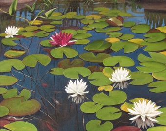 """Pondering, 30"""" x 24"""" Original Acrylic Painting on Canvas, Water Lily Artwork Home, Vertical Wall Art, Gift, Living room Decor, Pond View Art"""