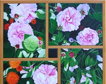 """Four Part Harmony, 36"""" x 36"""" Original Oil Painting on Canvas, Flower Artwork Home, Square Wall Art, Pink Rose Art Framed, Living room Decor"""