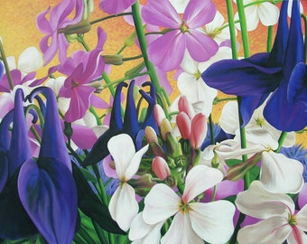 """Spring Collection 24"""" x 36"""" Original Oil Painting on Canvas, Artwork Home, Horizontal Art, Close up Flower Painting, Living room Decor"""
