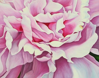 """Pink Peony, 36"""" x 24"""" Original Oil Painting on Canvas, Flower Artwork Home, Vertical Wall Art, Close up Flower         , Living room Decor"""