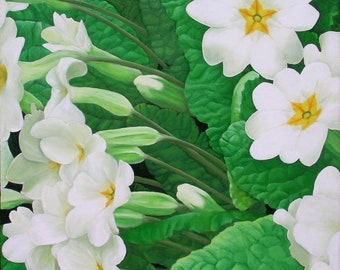 """Primula Divide, 20"""" x 20"""" Original Acrylic Painting on Canvas, Flower Artwork Home, Vertical Wall Art, Gift, Living room Decor, Closeup View"""