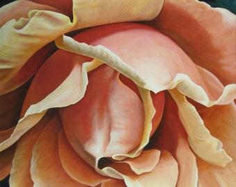 "Rosa Grande, 48"" x 36"" Original Acrylic Painting on Canvas, Orange Rose Art, Large Vertical Art, Close up Flower Painting, Living room Decor"