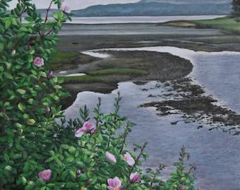 "Nootka Estuary, 20"" x 16"" Original Oil Painting on Canvas, Wild Flower Artwork, Wall Art, Gift, Estuary View , Livingroom Decor, Coast Scene"