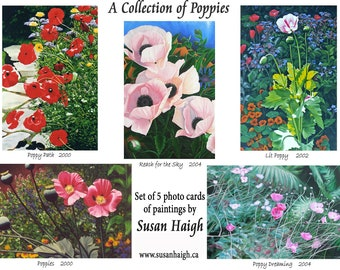 A Collection of Poppies  5 Art cards, Photo print cards, Mothers Day card, Poppy flowers, Blank inside, Birthday, Condolences, oil paintings