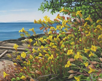 """Mimulus by the Sea 24"""" x 36"""" Original Acrylic Painting on Canvas, Artwork Home, Horizontal Art, Sea view, Living room Decor, Native Flowerss"""