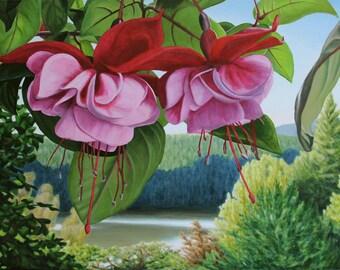 "Fuchsia Lake  24"" x 36"" Original Acrylic Painting on Canvas, Artwork Home, Horizontal Lake View, Living room Decor, Fuchsia Flowers Painting"